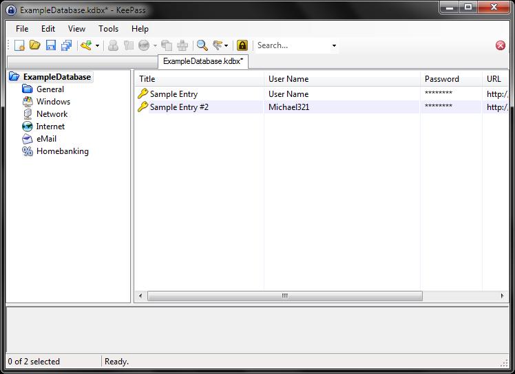 Screenshot of KeePass entries