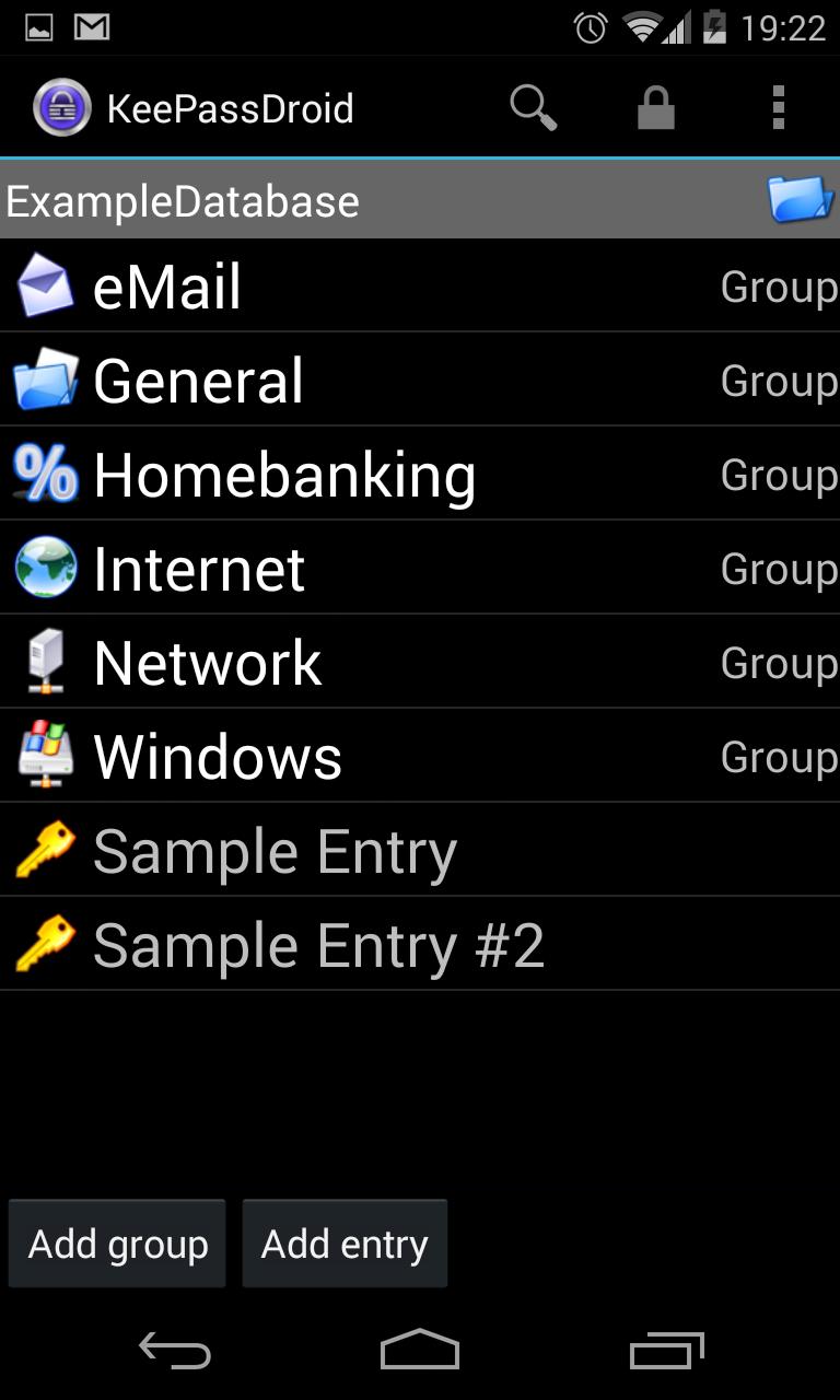 Screenshot of KeePassDroid
